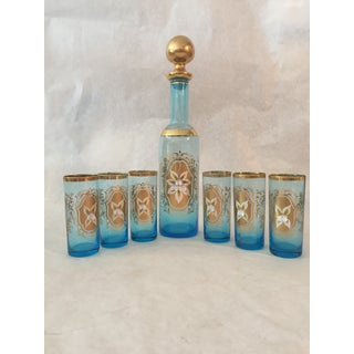 1960s Vintage 22k Gold Decanter With 6 Glasses - Set of 7 Preview