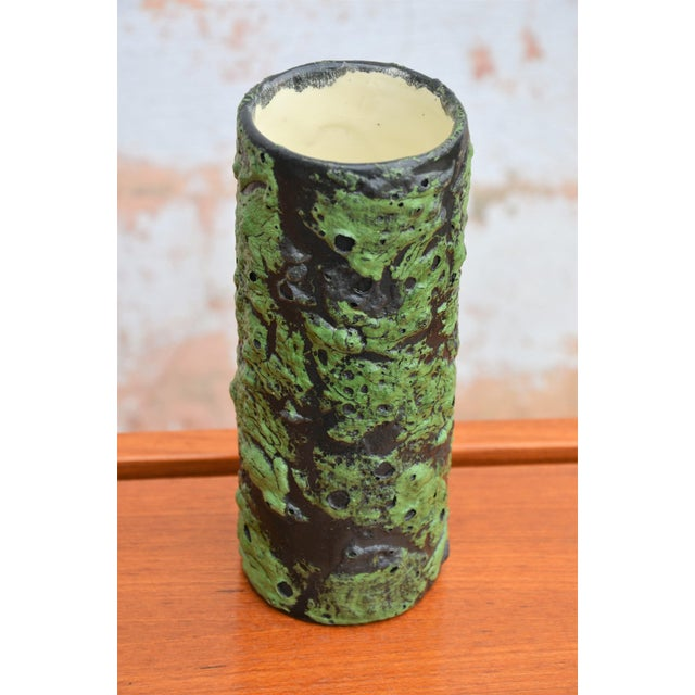 Brutalist Vintage Mid-Century Fat Lava Glaze Vase For Sale - Image 3 of 7