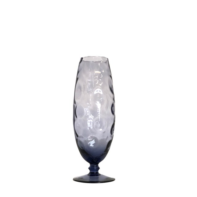 Mid-Century Modern Mid Century Vase in Pale Blue/Purple Circles For Sale - Image 3 of 3
