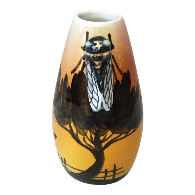 1950s Vintage Sicard Majolica Cicada Vase For Sale