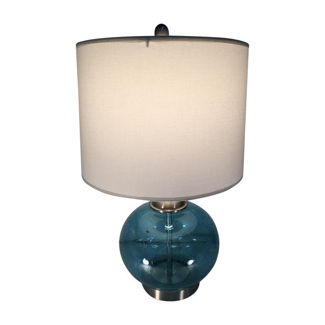 Round Blue Round Glass Lamp - Image 1 of 6