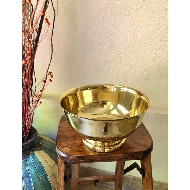 Baldwin Revere Polished Brass Pedestal Bowl For Sale - Image 4 of 10