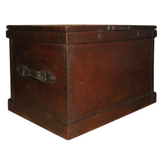 1860s English Large Painted Camphorwood Silver Chest With Leather Handles For Sale