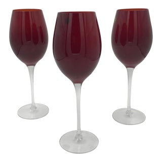 """Stunning Stemware! Ruby Red 10"""" Crystal Wine Glasses With Long Stems - Set of 3 - Very Classy! For Sale"""