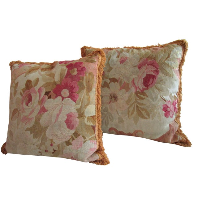Aubusson Pillows - Pair - Image 1 of 6