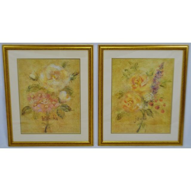 Vintage Framed French Jaune & Blanche Floral Still Life Prints For Sale - Image 4 of 13