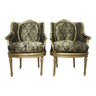 Hollywood Regency Black and Gold Damask Chairs - a Pair For Sale