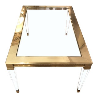 Sotto Brass & Lucite Coffee Table For Sale