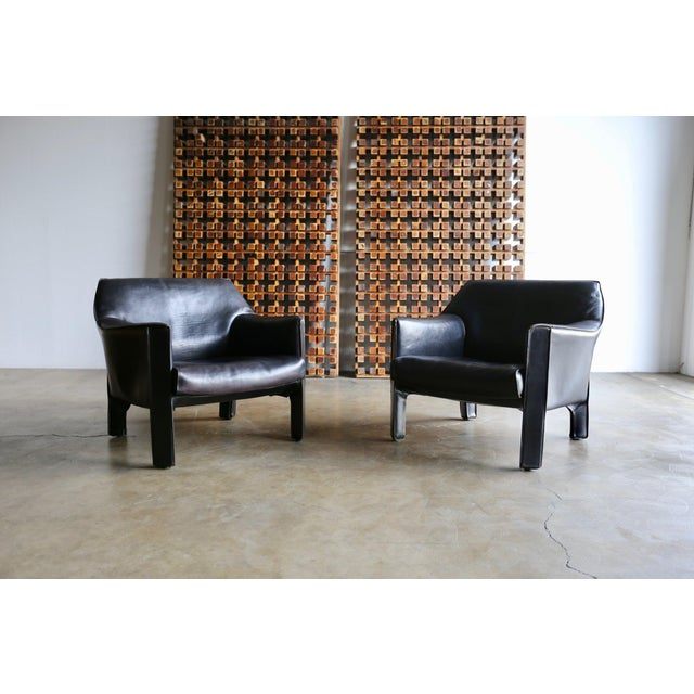 Mid-Century Modern Mario Bellini Black Leather Lounge Chairs - a Pair For Sale - Image 9 of 11
