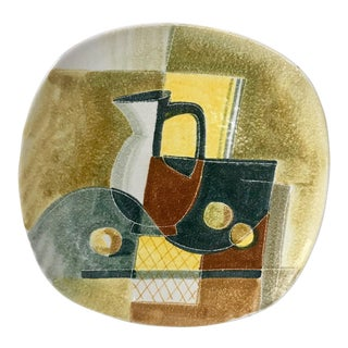 Italian Terracotta Ceramic Plate With Cubist Still Life