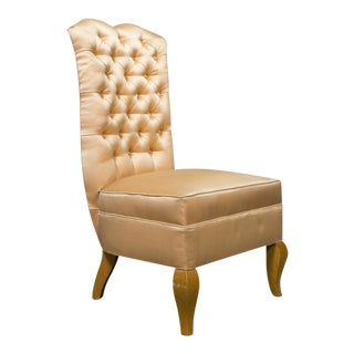 20th Century French Tufted Back Slipper Chair For Sale