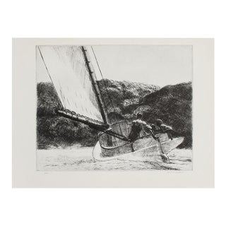 "1939 Edward Hopper ""The Catboat"", First Edition Period Etching For Sale"