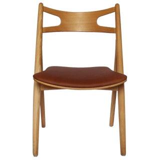 1970s Scandinavian Modern Hans J. Wegner Sawbuck Chair For Sale