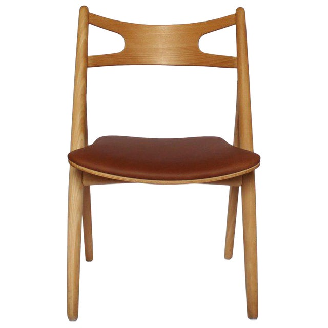 1970s Scandinavian Modern Hans J. Wegner Sawbuck Chair For Sale