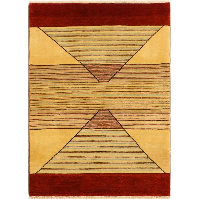 Red Shabby Chic Gabbeh Peshawar Cecil Tan/Red Hand-Knotted Wool Rug -3'0 X 5'1 For Sale - Image 8 of 8