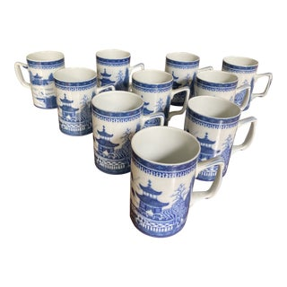 Vintage Mottahedeh Blue & White Coffee Mugs - Set of 10 For Sale