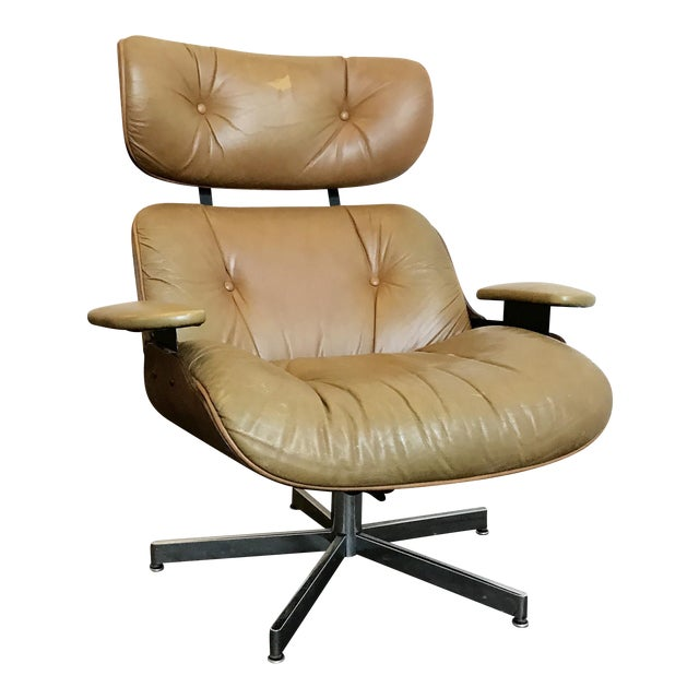Vintage Brown Leather Plycraft Lounge Chair - Image 1 of 10