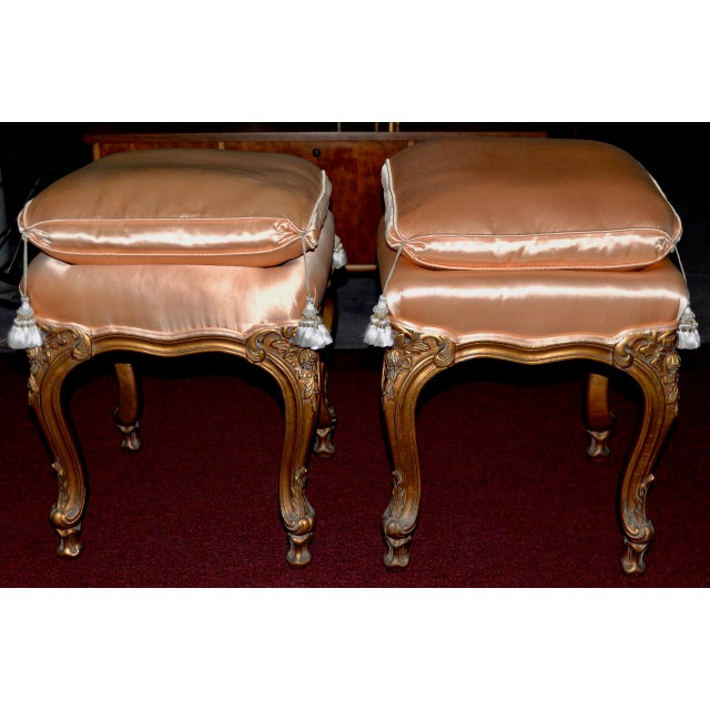 Mid 20th Century Pair of Italian Hand Carved and Silk Upholstered Benches C.1950s For Sale - Image 5 of 5