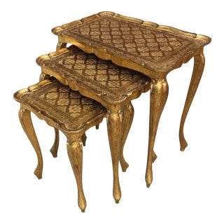 1960s Hollywood Regency Nesting Table - 3 Piece Set For Sale