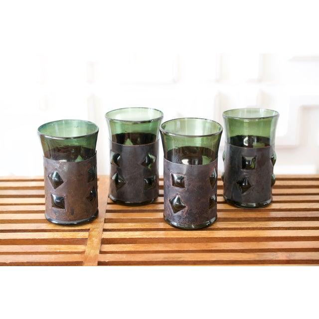 Green Mid-Century Brutalist Glass Tumblers by Felipe Derflinger - Set of 4 For Sale - Image 8 of 9