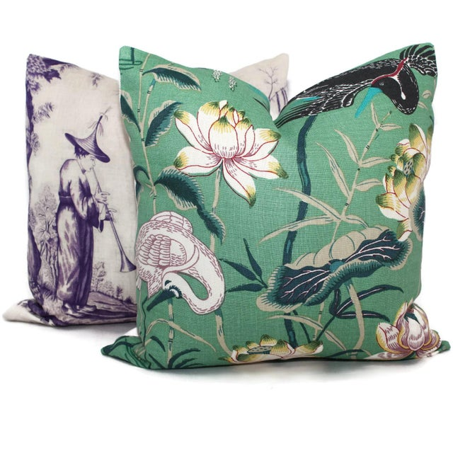 "20"" x 20"" Jade Lotus Garden Decorative Pillow Cover For Sale In Boston - Image 6 of 6"