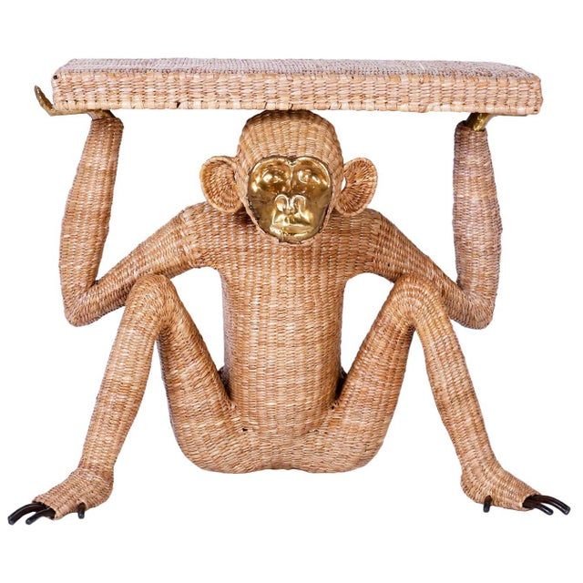 Mario Torres Brass Face Monkey Console For Sale - Image 10 of 10