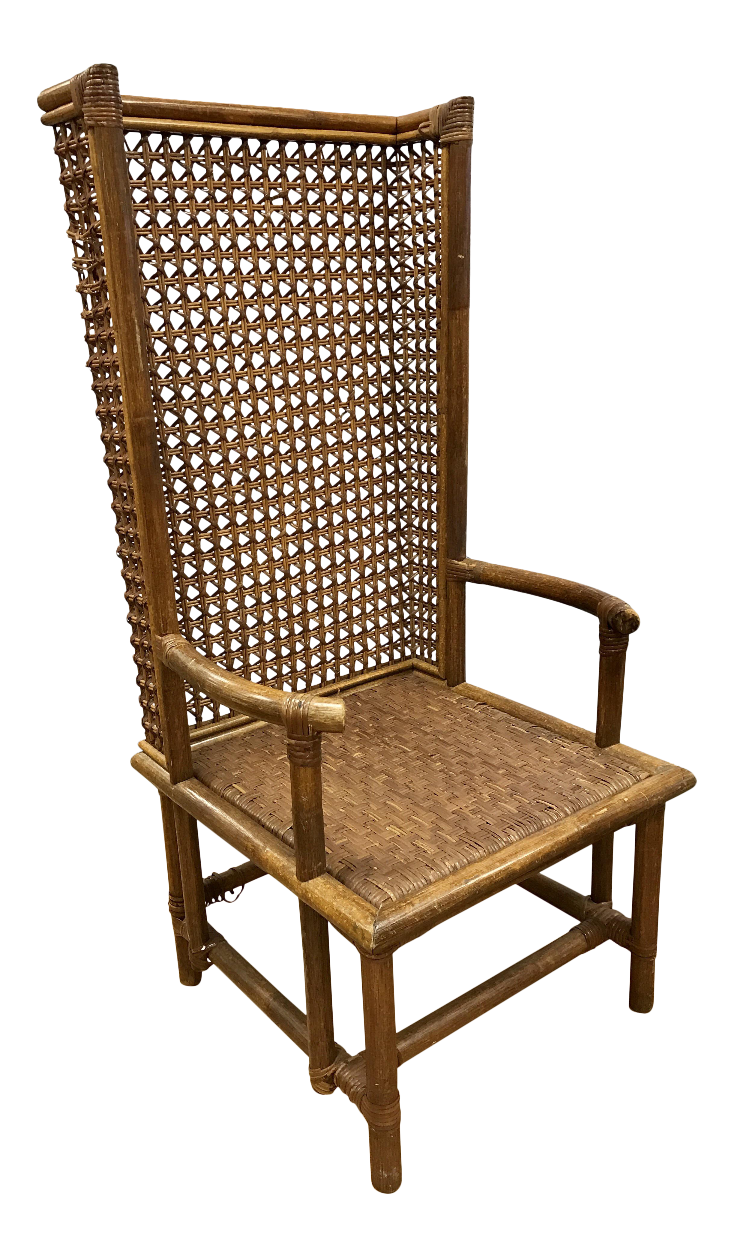 Mid Century Rattan Wingback Chair