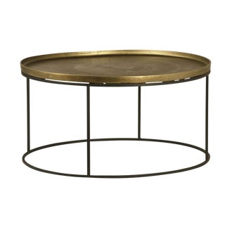 Brass Finish Round Coffee Table For Sale