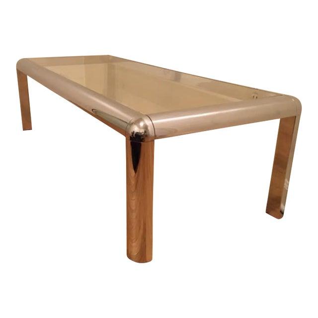 Italian Mod Chrome & Glass Coffee Table - Image 1 of 8