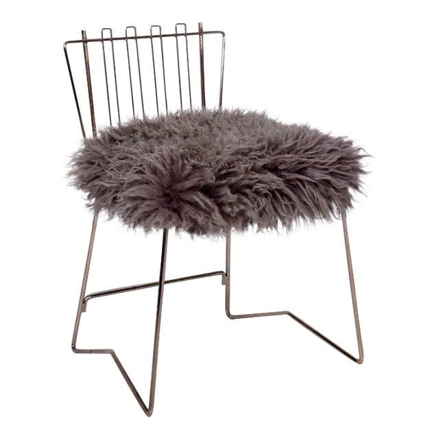Pr03 Folding Brass & Lambskin Chair For Sale