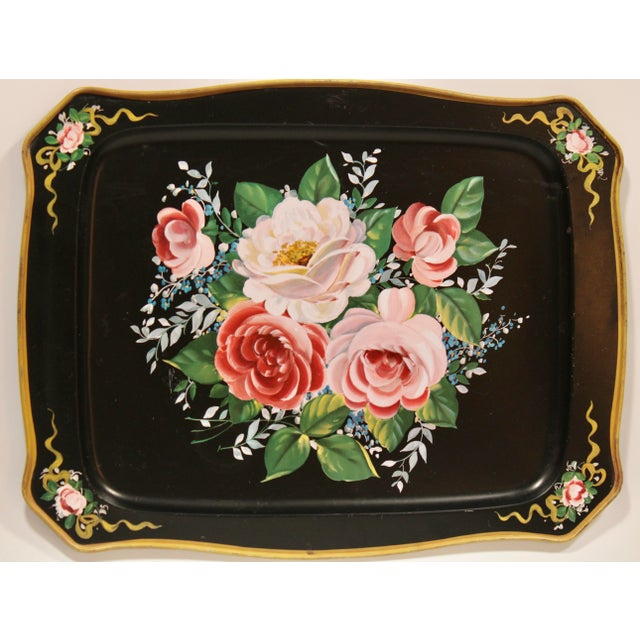 A lovely vintage black tole French floral tray. This tray is in such great shape and would love amazing corralling...
