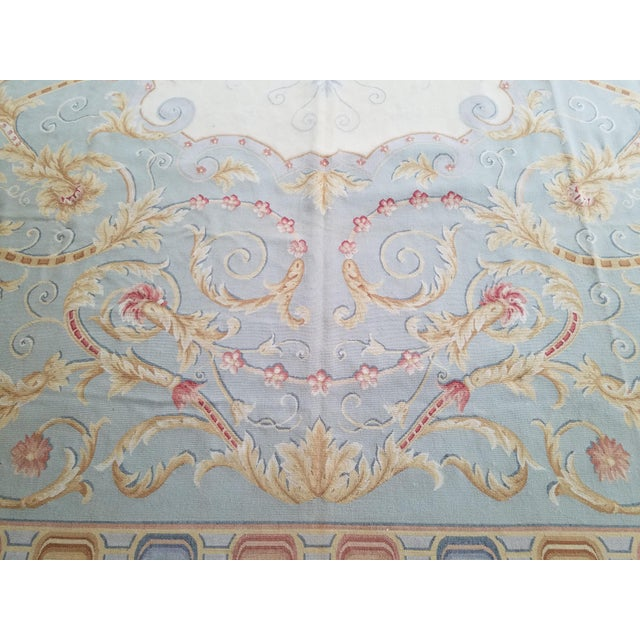 Blue Handmade Blue Gray, Ivory, Gold and Teracotta Aubusson Style Area Rug - 8′10″ × 12′2″ For Sale - Image 8 of 8