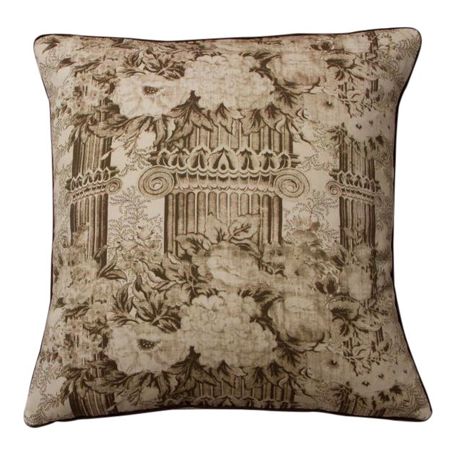 Traditional Sepia Toile Columns Pillow For Sale