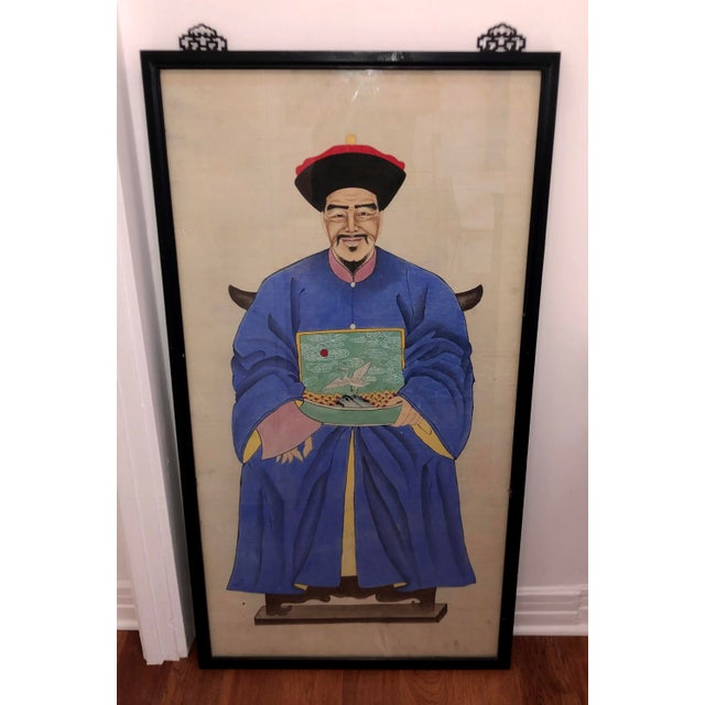 Early 20th Century Antique Chinese Ancestor Portrait Painting - Swan Shield For Sale - Image 5 of 6