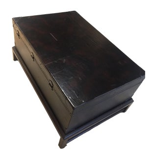 English Traditional Ralph Lauren Leather Trunk on Stand Coffee Table For Sale