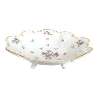 Reichenbach Pierced Lattice Porcelain Footed Serving Centerpiece Bowl For Sale