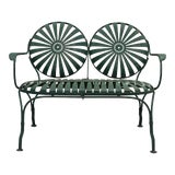 Image of Vintage Francois Carre Green Patio Loveseat For Sale