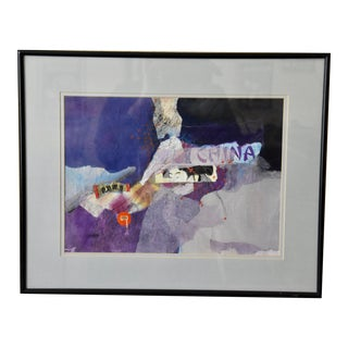 Mix Media Collage Wall Art Design Signed by Jeanine Shanahan For Sale