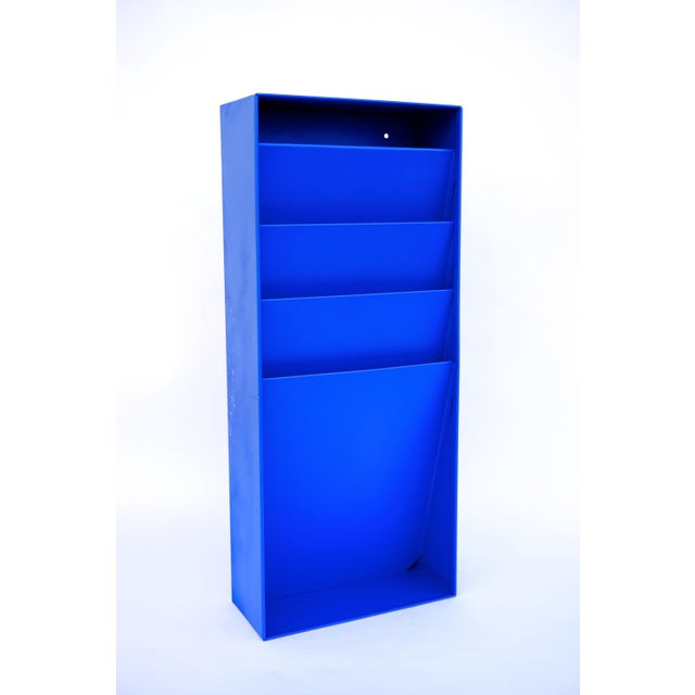 Steelcase Mid-Century Industrial Steelcase Electric Blue Wall Mount File Rack For Sale - Image 4 of 10
