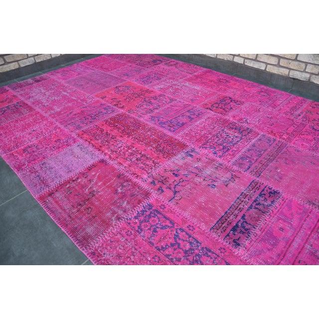 Islamic Pink Overdyed Turkish Anatolian Patchwork Carpet - 7′1″ × 10′ For Sale - Image 3 of 11