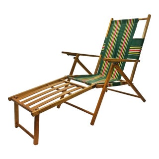 Vintage Wood Slat Folding Chair with Chaise Leg Extension