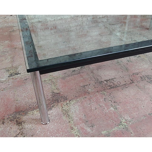 Black Le Corbusier for Cassina Vintage Rectangular Glass Top Coffee Table For Sale - Image 8 of 10