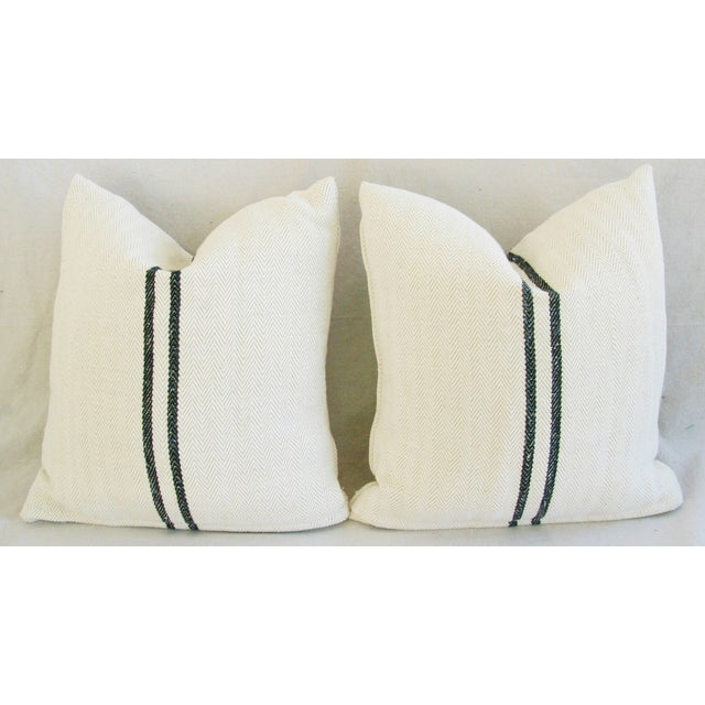 French Grain Sack Down & Feather Pillows - Pair - Image 10 of 10