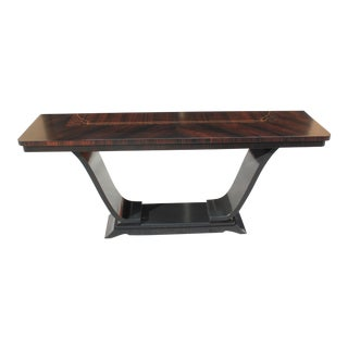 1940s Art Deco Exotic Macassar Ebony Console Table For Sale