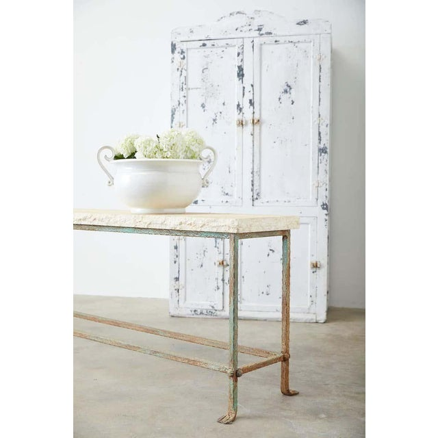 Amazing patio garden table or console table featuring a 2 inch thick stone top having a hand-chiseled live edge with a...