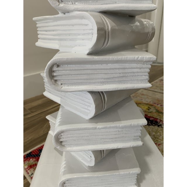 White Tromp l'Oeil Stack of Books Side Table For Sale - Image 8 of 10