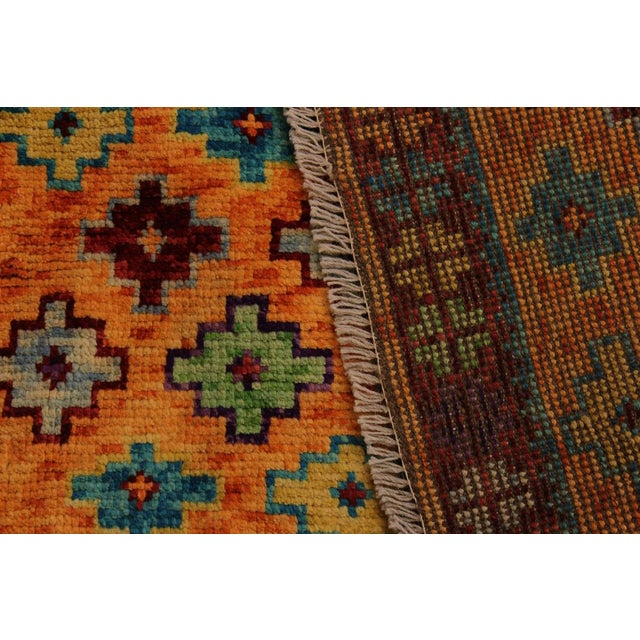 Textile Balouchi Esmerald Orange/ Blue Wool Rug - 3'7 X 4'11 For Sale - Image 7 of 8