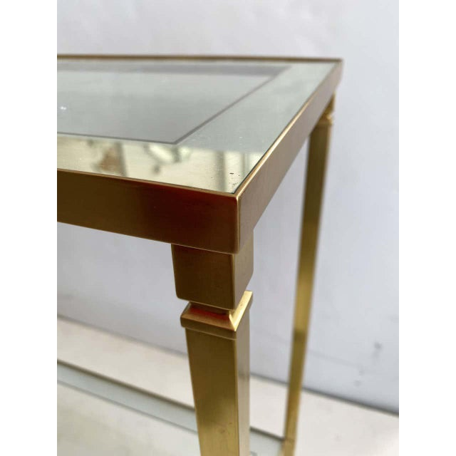 1980s Mastercraft Style Brass Console Table For Sale - Image 5 of 13
