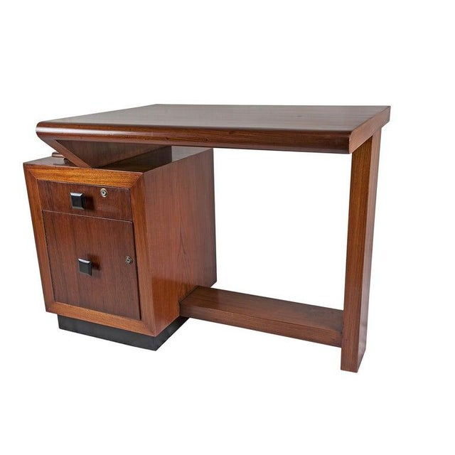 Mid-Century Modern Teak Desk With Ebonized Accents For Sale In Nantucket - Image 6 of 10