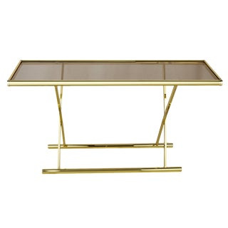 1980s Modern Brass X Base Glass Console Table For Sale